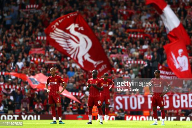 Sadio Mane of Liverpool ahead of kick off during the Premier League match between Liverpool FC and Newcastle United at Anfield on September 14 2019...