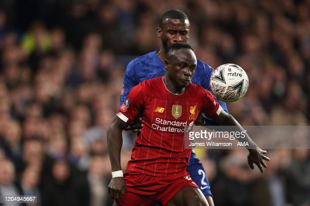 Sadio Mane of Liverpool and Antonio Rudiger of Chelsea during the FA Cup Fifth Round match between Chelsea FC and Liverpool FC at Stamford Bridge on...