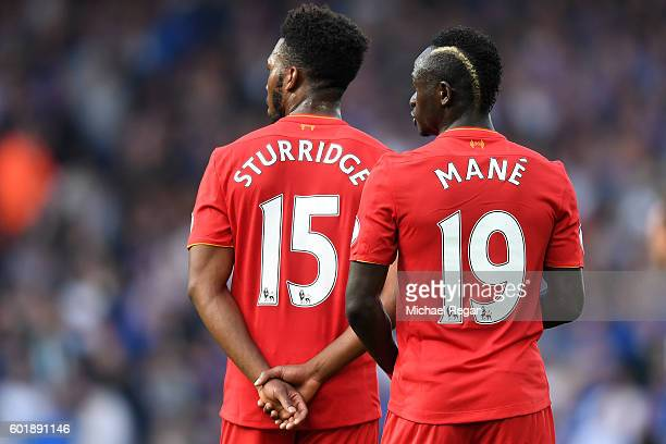 Sadio Mane of Liverpool and Daniel Sturridge of Liverpool look on during the Premier League match between Liverpool and Leicester City at Anfield on...