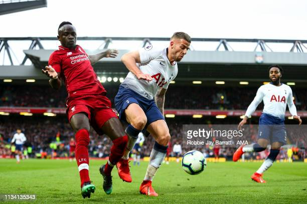 Sadio Mane of Liverpool and Toby Alderweireld of Tottenham Hotspur during the Premier League match between Liverpool FC and Tottenham Hotspur at...