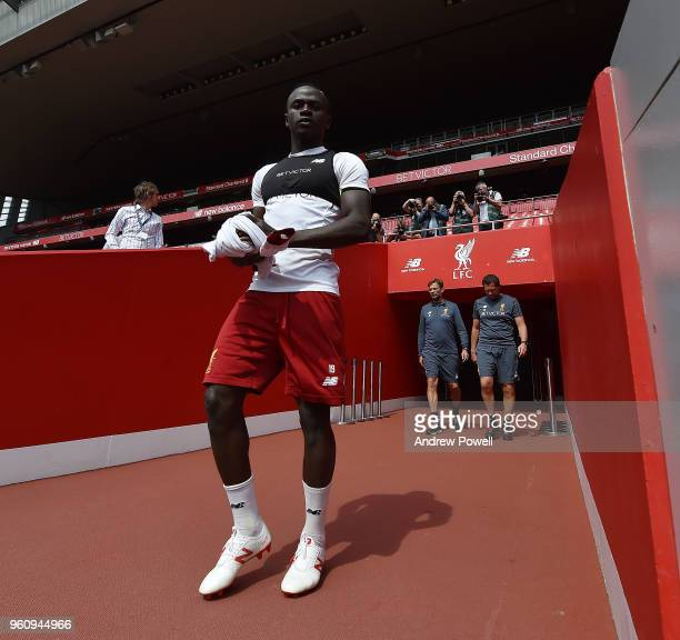 Sadio Mane of Liverpool arrives before the Training session at Anfield on May 21 2018 in Liverpool England