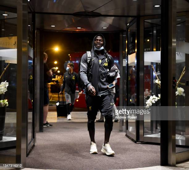 Sadio Mane of Liverpool arriving before the UEFA Champions League group B match between Atletico Madrid and Liverpool on October 18, 2021 in Madrid,...