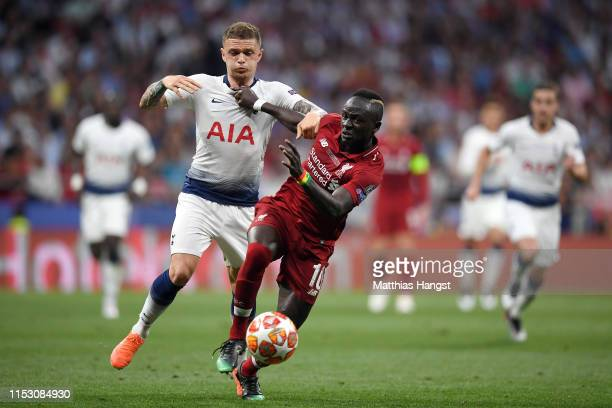 Sadio Mane of Liverpool battles for possession with Kieran Trippier of Tottenham Hotspur during the UEFA Champions League Final between Tottenham...