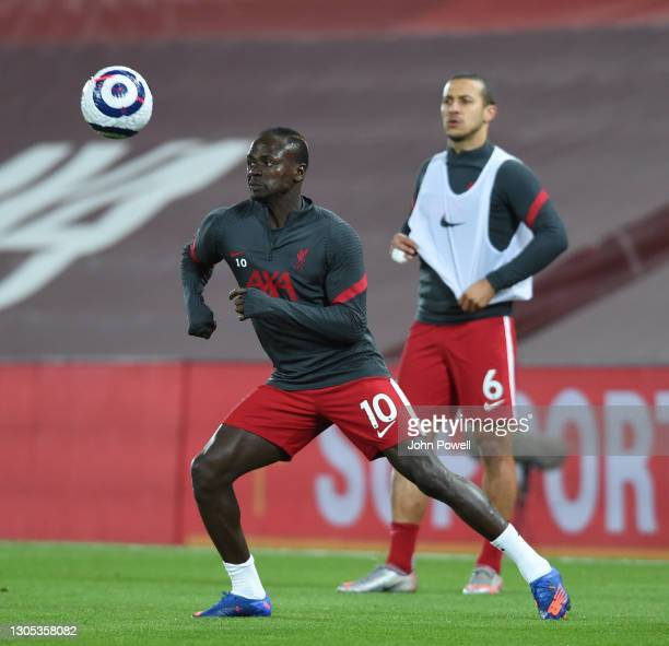 Sadio Mane of Liverpool before the Premier League match between Liverpool and Chelsea at Anfield on March 04, 2021 in Liverpool, England. Sporting...