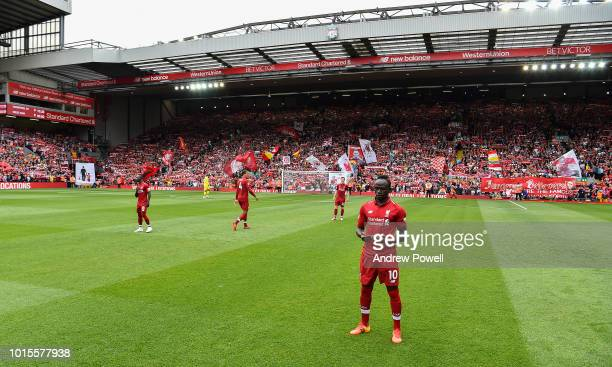 Sadio Mane of Liverpool before the Premier League match between Liverpool FC and West Ham United at Anfield on August 12 2018 in Liverpool United...