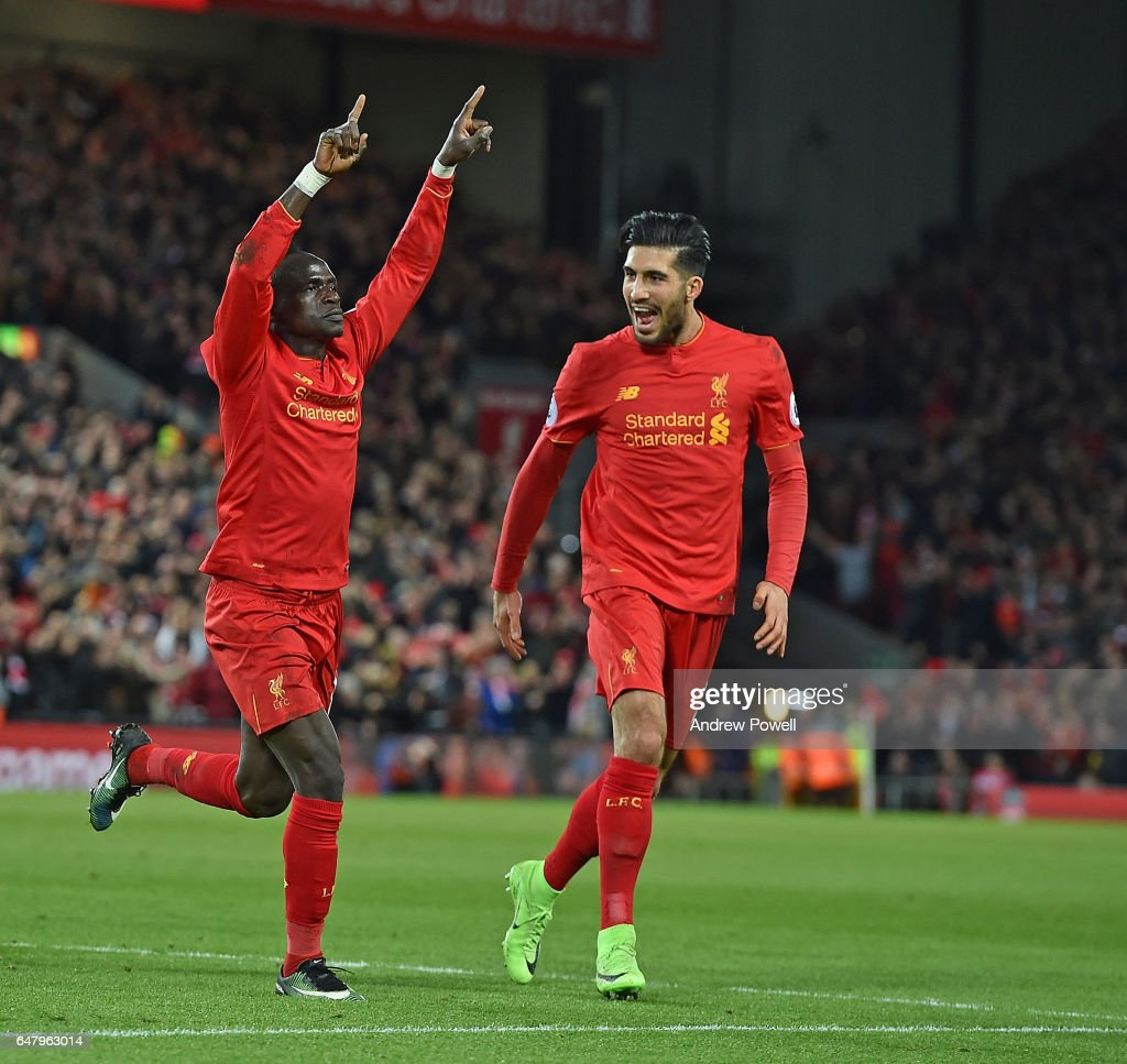 Sadio Mane of Liverpool Celebrates after he scored the second for liverpool during the Premier League match between Liverpool and Arsenal at Anfield on March 4, 2017 in Liverpool, England.