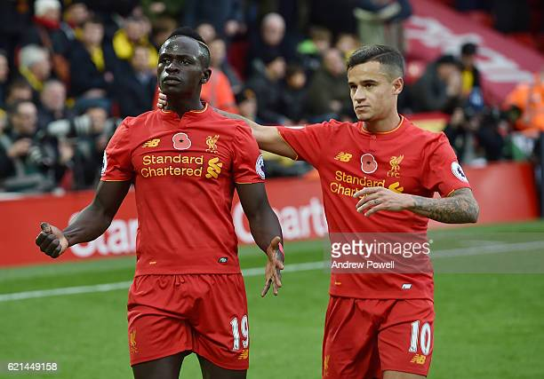 Sadio Mane of Liverpool celebrates after scoing during the Premier League match between Liverpool and Watford at Anfield on November 6 2016 in...