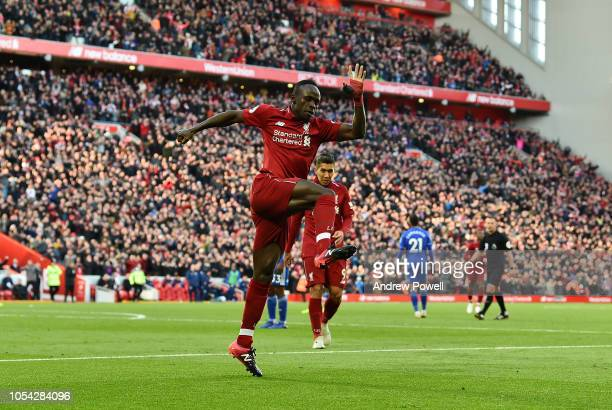 Sadio Mane of Liverpool celebrates after scoring a goal the Premier League match between Liverpool FC and Cardiff City at Anfield on October 27 2018...