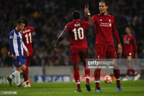 Sadio Mane of Liverpool celebrates after scoring a goal to make it 0-1 during the UEFA Champions League Quarter Final second leg match between Porto...
