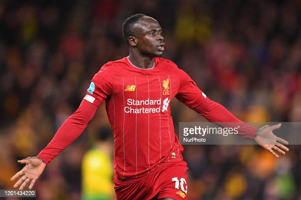 Sadio Mane of Liverpool celebrates after scoring a goal to make it 01 during the Premier League match between Norwich City and Liverpool at Carrow...