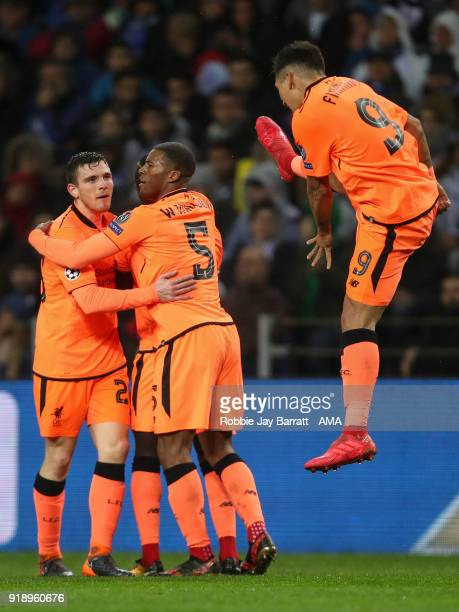 Sadio Mane of Liverpool celebrates after scoring a goal to make it 01 during the UEFA Champions League Round of 16 First Leg match between FC Porto...
