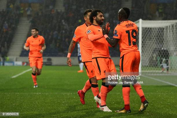 Sadio Mane of Liverpool celebrates after scoring a goal to make it 03 during the UEFA Champions League Round of 16 First Leg match between FC Porto...