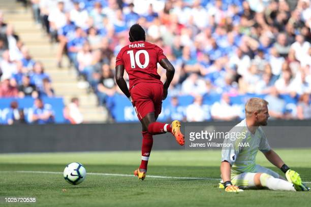 Sadio Mane of Liverpool celebrates after scoring a goal to make it 10 during the Premier League match between Leicester City and Liverpool FC at The...