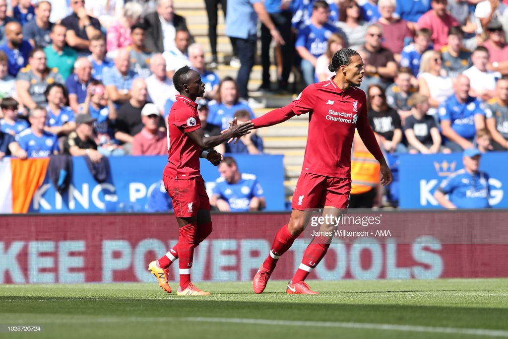 Sadio Mane of Liverpool celebrates after scoring a goal to make it 1-0 during the Premier League match between Leicester City and Liverpool FC at The King Power Stadium on September 1, 2018 in Leicester, United Kingdom.