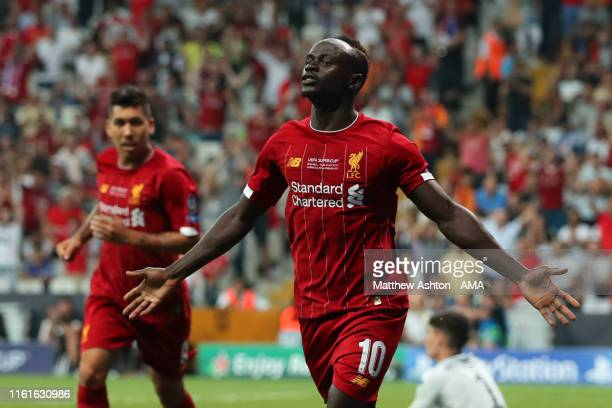 Sadio Mane of Liverpool celebrates after scoring a goal to make it 11 during the UEFA Super Cup Final fixture between Liverpool and Chelsea at...