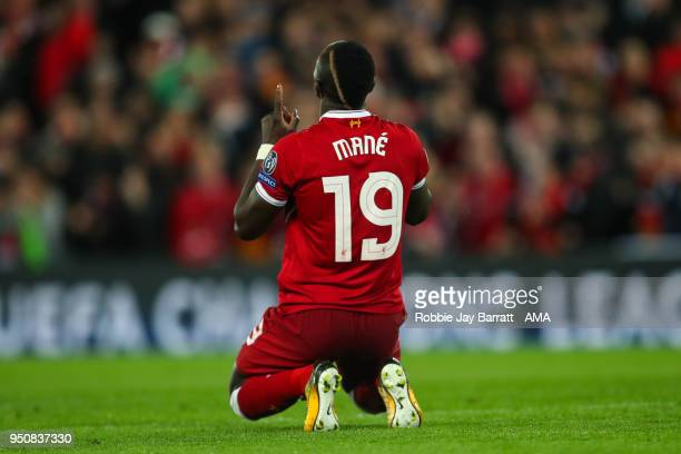 Sadio Mane of Liverpool celebrates after scoring a goal to make it 30 during the UEFA Champions League Semi Final First Leg match between Liverpool...