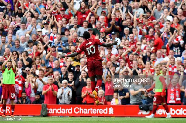 Sadio Mane of Liverpool celebrates after scoring during the Premier League match between Liverpool FC and West Ham United at Anfield on August 12...