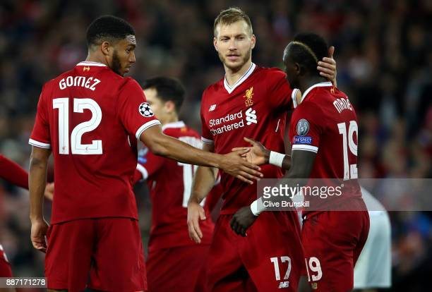 Sadio Mane of Liverpool celebrates after scoring his sides fifth goal with Joe Gomez of Liverpool and Ragnar Klavan of Liverpool during the UEFA...