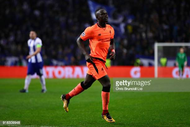 Sadio Mane of Liverpool celebrates after scoring his sides fifth goal during the UEFA Champions League Round of 16 First Leg match between FC Porto...