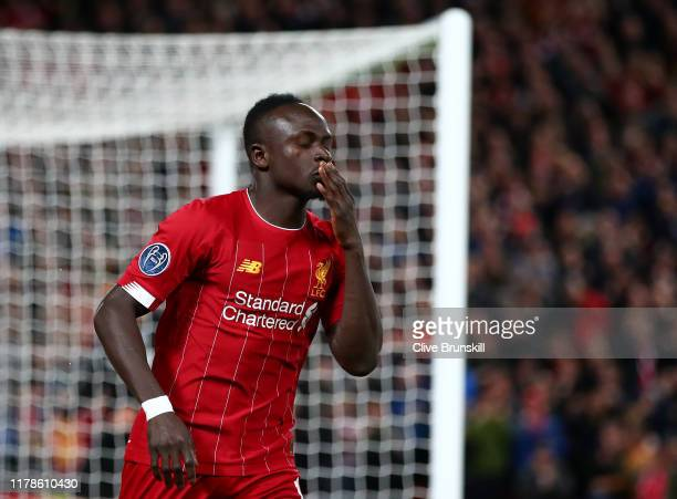 Sadio Mane of Liverpool celebrates after scoring his sides first goal during the UEFA Champions League group E match between Liverpool FC and RB...