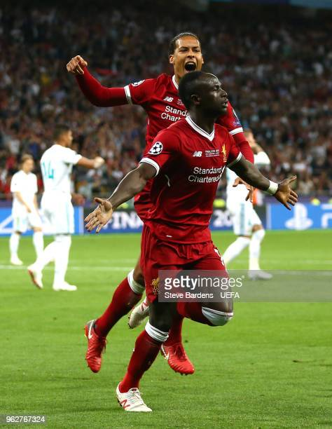 Sadio Mane of Liverpool celebrates after scoring his sides first goal during the UEFA Champions League Final between Real Madrid and Liverpool at NSC...