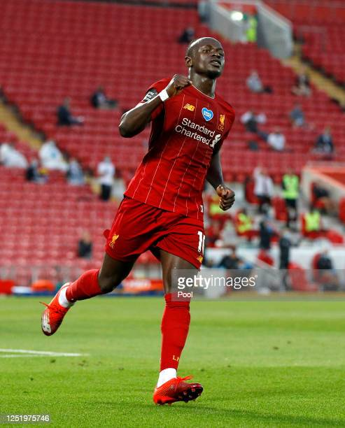 Sadio Mane of Liverpool celebrates after scoring his sides fourth goal during the Premier League match between Liverpool FC and Crystal Palace at...