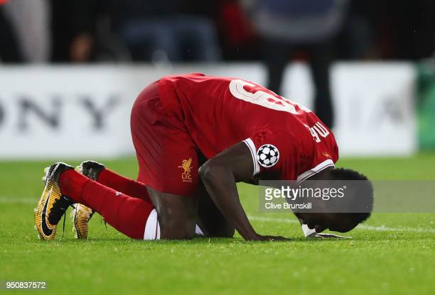 Sadio Mane of Liverpool celebrates after scoring his sides third goal during the UEFA Champions League Semi Final First Leg match between Liverpool...