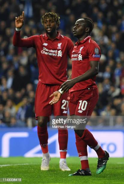 Sadio Mane of Liverpool celebrates after scoring his team's first goal during the UEFA Champions League Quarter Final second leg match between Porto...