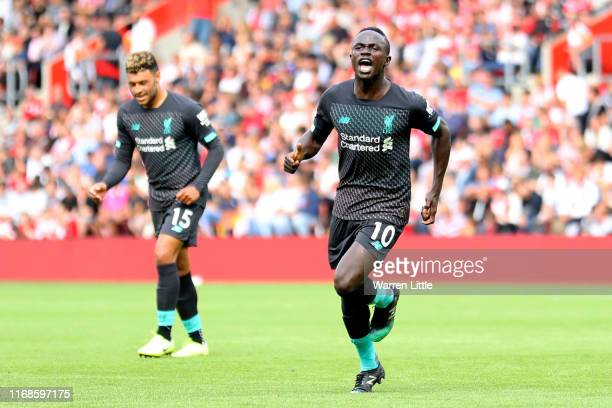 Sadio Mane of Liverpool celebrates after scoring his team's first goal during the Premier League match between Southampton FC and Liverpool FC at St...