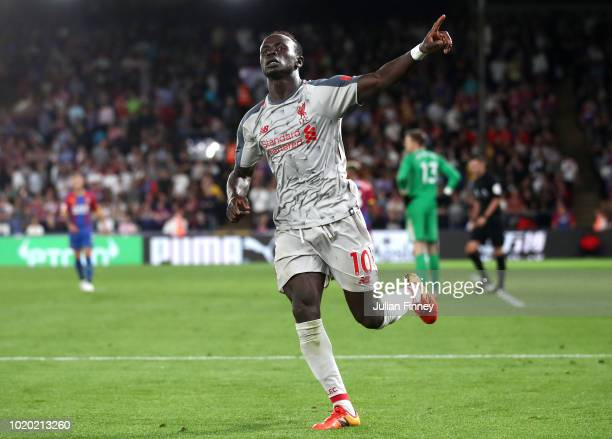Sadio Mane of Liverpool celebrates after scoring his team's second goal during the Premier League match between Crystal Palace and Liverpool FC at...