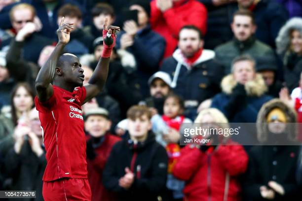 Sadio Mane of Liverpool celebrates after scoring his team's second goal during the Premier League match between Liverpool FC and Cardiff City at...