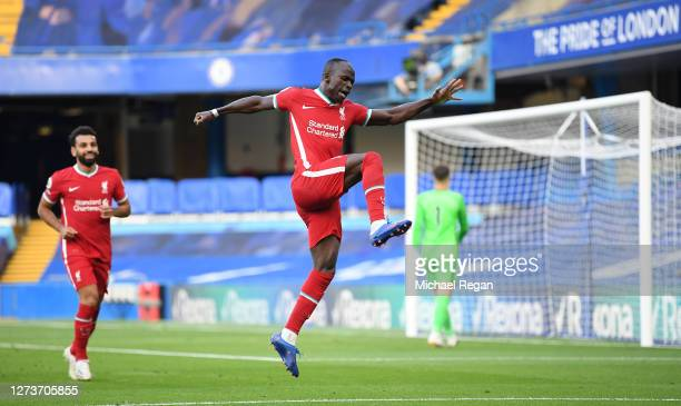 Sadio Mane of Liverpool celebrates after scoring his team's second goal during the Premier League match between Chelsea and Liverpool at Stamford...