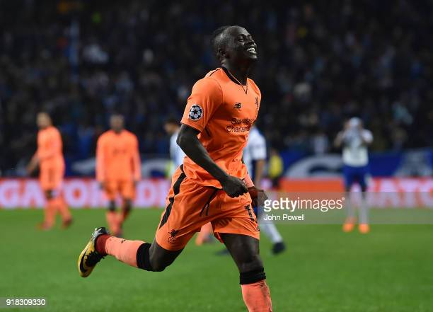 Sadio Mane of Liverpool celebrates after scoring the fifth goal during the UEFA Champions League Round of 16 First Leg match between FC Porto and...