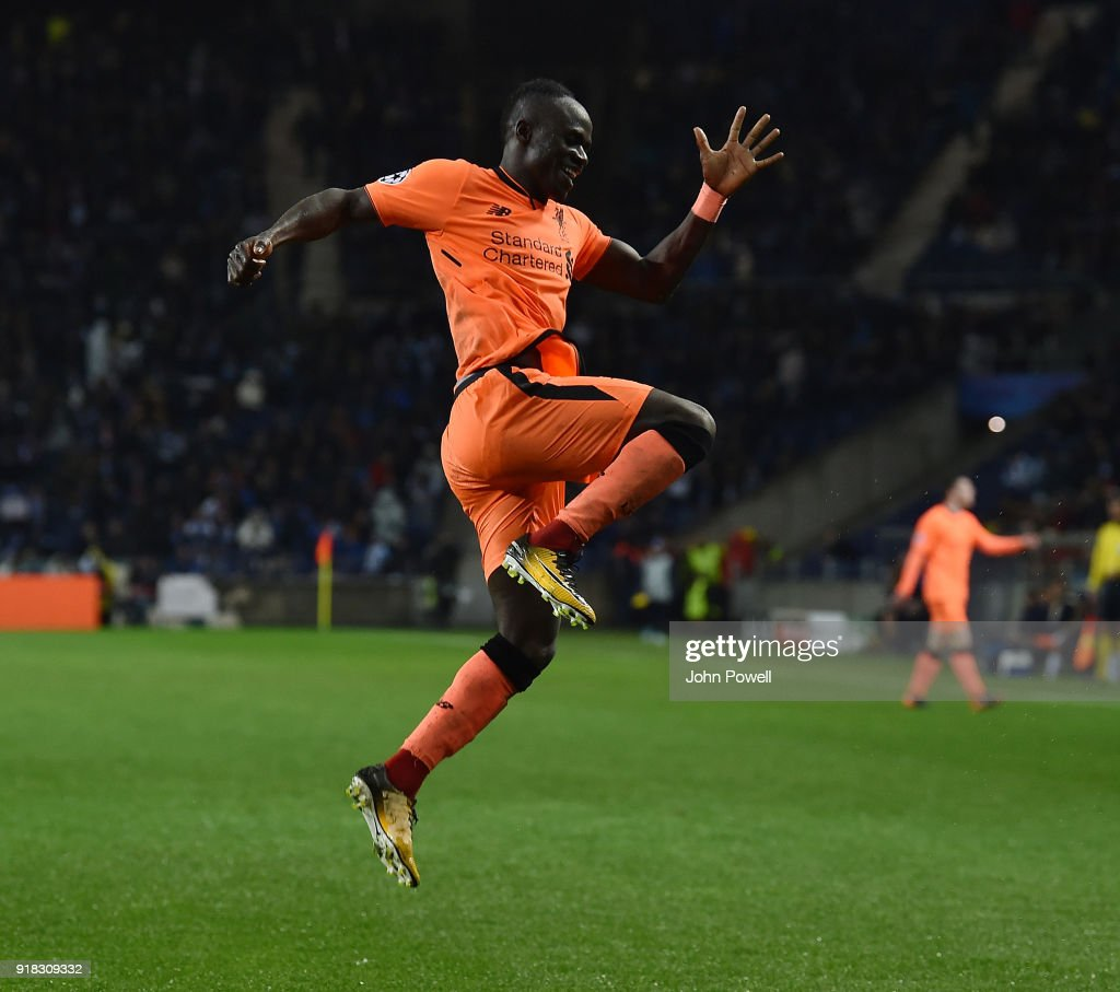 Uefa Champions League Round Of: Sadio Mane Of Liverpool Celebrates After Scoring The Fifth
