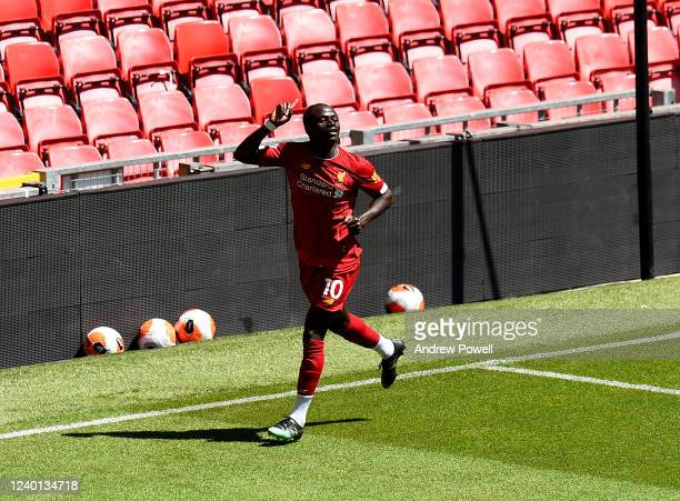 Sadio Mane of Liverpool celebrates after scoring the opening goal during a training session at Anfield on June 01 2020 in Liverpool England