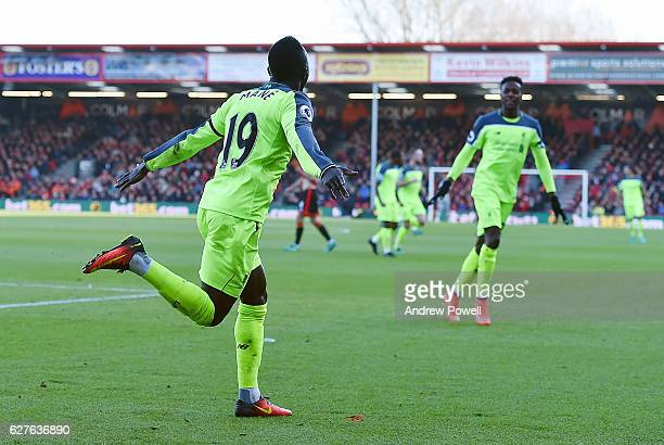 Sadio Mane of Liverpool celebrates after scoring the opening goal during the Premier League match between AFC Bournemouth and Liverpool at the...
