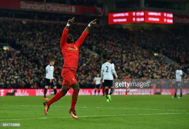 Sadio Mane of Liverpool celebrates after scoring the opening goal during the Premier League match between Liverpool and Tottenham Hotspur at Anfield...