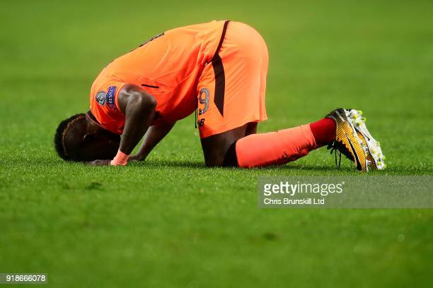 Sadio Mane of Liverpool celebrates after scoring the opening goal during the UEFA Champions League Round of 16 First Leg match between FC Porto and...