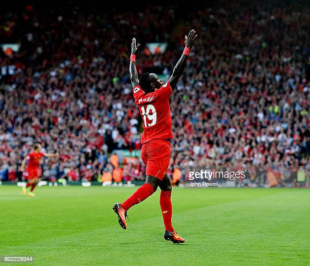 Sadio Mane of Liverpool Celebrates after scoring the second goal during the Premier League match between Liverpool and Leicester City at Anfield on...