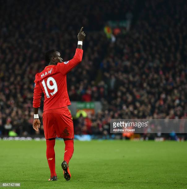 Sadio Mane of Liverpool celebrates after scoring the second goal during the Premier League match between Liverpool and Tottenham Hotspur at Anfield...