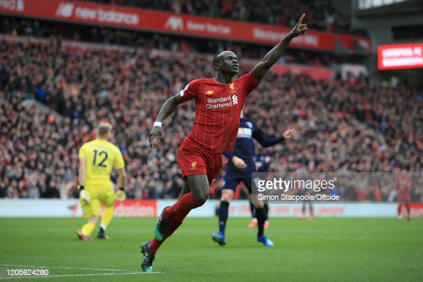 Sadio Mane of Liverpool celebrates after scoring their 2nd goal during the Premier League match between Liverpool FC and AFC Bournemouth at Anfield...
