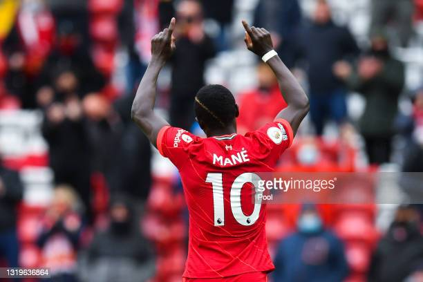 Sadio Mane of Liverpool celebrates after scoring their side's second goal during the Premier League match between Liverpool and Crystal Palace at...
