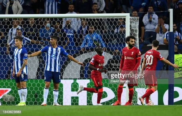 Sadio Mane of Liverpool celebrates after scoring their sides second goal during the UEFA Champions League group B match between FC Porto and...