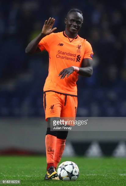 Sadio Mane of Liverpool celebrates after the UEFA Champions League Round of 16 First Leg match between FC Porto and Liverpool at Estadio do Dragao on...