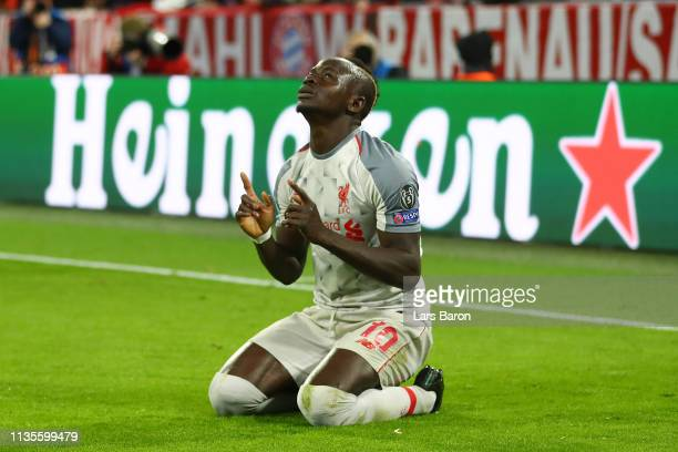 Sadio Mane of Liverpool celebrates as he scores his team's first goal during the UEFA Champions League Round of 16 Second Leg match between FC Bayern...