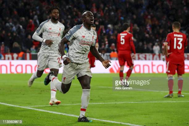 Sadio Mane of Liverpool celebrates as he scores his team's third goal during the UEFA Champions League Round of 16 Second Leg match between FC Bayern...