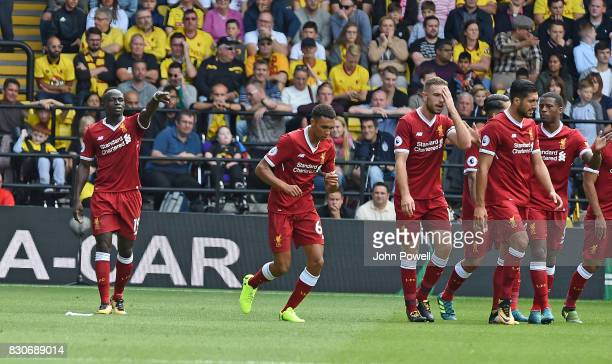 Sadio Mane of Liverpool Celebrates his Goal during the Premier League match between Watford and Liverpool at Vicarage Road on August 12, 2017 in...