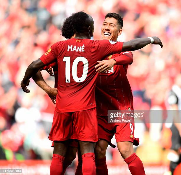 Sadio Mane of Liverpool celebrates his second goal during the Premier League match between Liverpool FC and Newcastle United at Anfield on September...