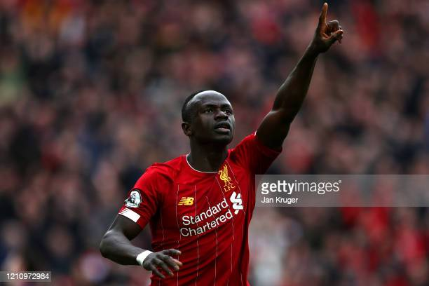 Sadio Mane of Liverpool celebrates scoring a goal during the Premier League match between Liverpool FC and AFC Bournemouth at Anfield on March 07...