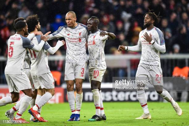 Sadio Mane of Liverpool celebrates scoring a goal during the UEFA Champions League Round of 16 Second Leg match between FC Bayern Muenchen and...